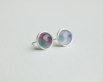 Multicolor purple blue rainbow fluorite gemstone sterling silver earrings studs