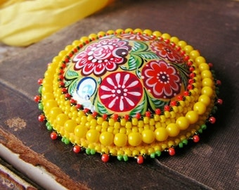 Folk Style Brooch Beadwork Brooch Flower Brooch Colorful Brooch Hand Painted Brooch Bead embroidery Yellow jewelry Russian MADE TO ORDER