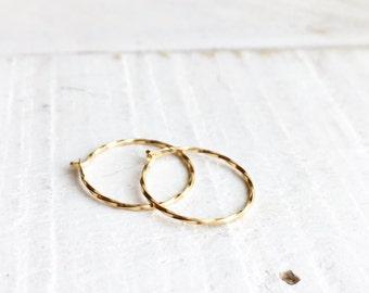 100% 14K Solid Gold Hoop Earrings, 14K Gold Hoop Earrings,Delicate 14K Solid Gold Hoop Earrings, Everyday Earrings, Solid Gold Hoop Earrings
