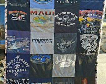 T-shirt custom quilt throw dorm sport vacation man cave