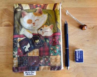 Cat Illustration Pouch Pencil, Case, Bag