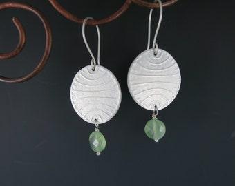 Prehnite Earrings, Sterling Silver Earrings, Textured Earrings, Handmade Earrings, Metalsmith