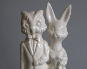 Owl  and Bunny  Wedding Cake Topper  Handmade ceramic