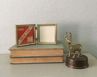 Double Hinged Picture Frames Small Square 3.5x3.5 / In Lovely Brass Toned Metal Ornate Filagree Photo Frame Perfect For An Old Family Photo