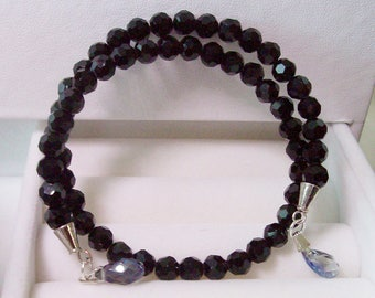 Black, memory wire bracelet, 8 mm black crystals, tear drop crystal on ends, Free standard USA shipping only, #B942