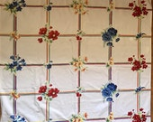 """Vintage Beautiful Floral square Tablecloth 40"""" by 40"""""""