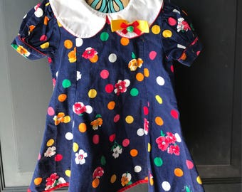 Bintage girls colorful floral dress 2t
