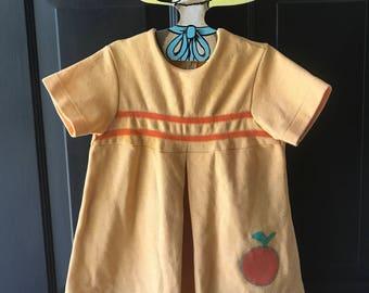 Vintage polyester novelty orange shift dress 4t