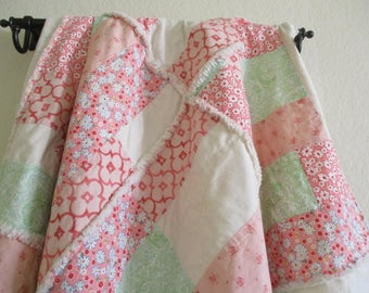 Patchwork Lap Rag Quilt, Homemade Quilt, Country Quilt, Rag Quilt Throw, Handmade Rag Quilt, Pink Quilt