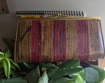 60s GORGEOUS RED & BROWN Striped Snakeskin Wallet with Gold Accent
