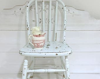 Vintage Childs Chair White Wood Chippy Shabby Chic Bentwood