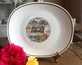 Vintage Large Ivory Reno Souvenir Platter Trimmed in Gold