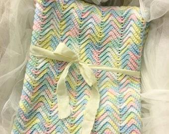 Vintage mulitcolored crochet baby blanket, chevron pattern crochet blanket with Free vintage baby book