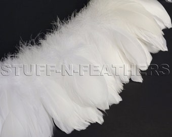 Wholesale / bulk feathers - White / Off white goose nagoire feathers strung for millinery, weddings, crafts, real feathers, 1 ft / FB87-3