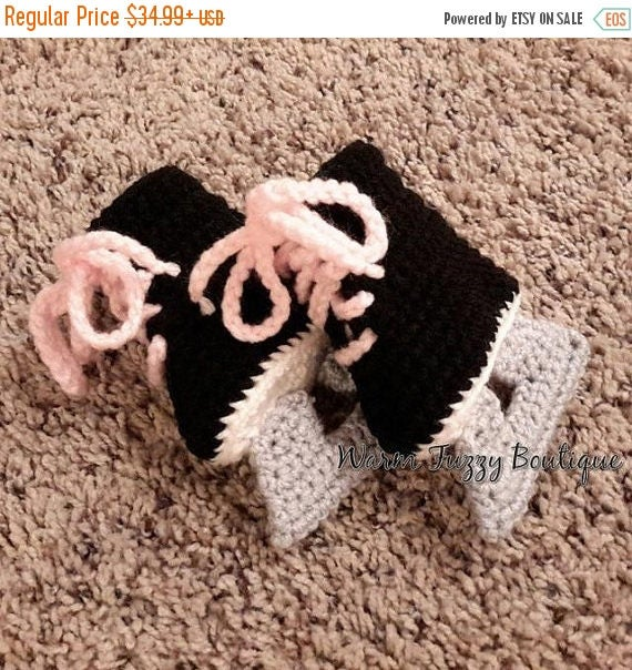 SALE 20% OFF Baby Hockey Ice Skates Booties Pink Laces Black Grey Crochet Winter Outfit Newborn Boy Girl Halloween  Photo Prop Accessory