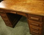 Antique Oak Panel Executive Desk, Office Desk, Vintage Desk, Library Desk, Office, Storage, Home Decor, Quarter Sawn Oak