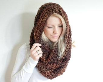 WINTER SALE the CHEROKEE cowl - chunky cowl scarf hood circle scarf - sequoia - slightly ribbed