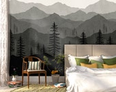 Black Ombré Mountain Wallpaper   Forest Tree and Mountain Wallpaper   Repositionable and Removable Wallpaper W1078