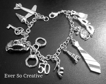 Charm Bracelet: 50 Shades of Gray Inspired