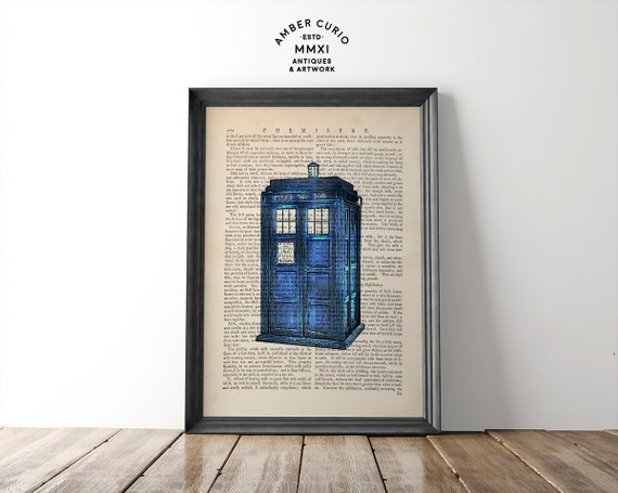 Doctor Who Fandom the Police Box British TARDIS Time Travel Geek Digital Print on Unique Unframed Upcycled Bookpage