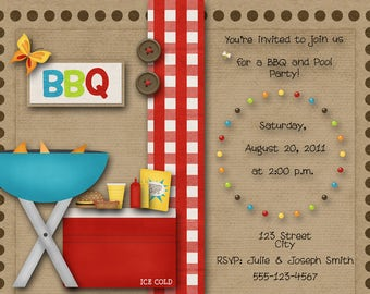 BBQ Pool Party Invitation