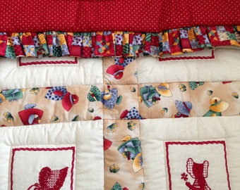 Baby Quilt, baby blanket, red and beige, ruffled quilt, ready to ship