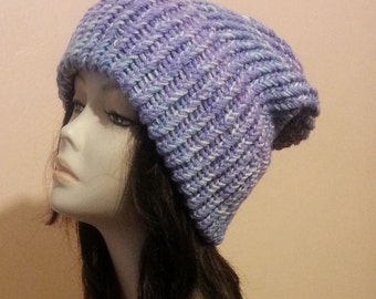 Chunky Loom Knitted Hat, Slouchy Loom Knit Hat, Loom Knit Hat, Winter Hat, Loom Hat. FREE UK DELIVERY