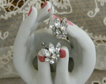 Vintage Rhinestone Screw Back Earrings - Bridal Earrings