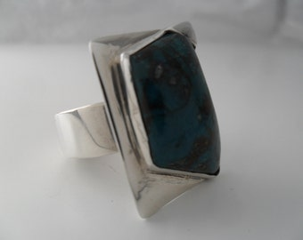 Sterling Silver Ring. Pebble Ring. Stone Ring. Multistone Ring. Solitaire Ring. Chrysocolla Ring.