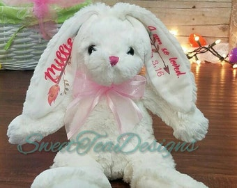 Personalized Easter Bunny, monogrammed bunny, Easter basket gift, Custom bunny, John 3:16, Bible verse bunny