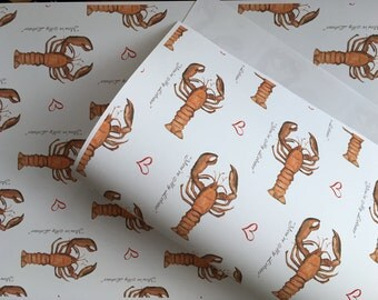 You're my lobster , wrapping paper , gift wrap, for Valentine's Day, for him, for her, read description