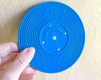 Vintage Fisher Price Music Box Record Player Record Number 1 Blue 1970s FREE SHIPPING