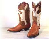 Vintage Cowboy Boots, Dingo Saddle Tan Leather & Hair On Cowhide, Women size 6.5 M