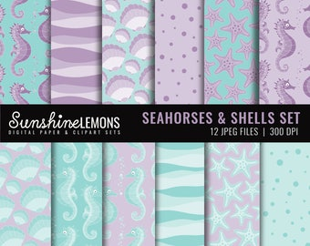 Seahorses and Shells Digital Scrapbooking Paper Set - COMMERCIAL USE Read Terms Below