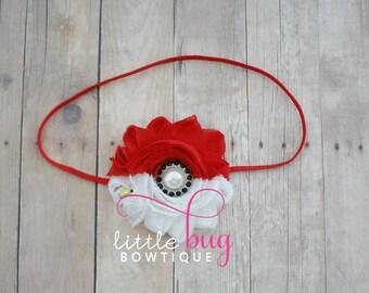 Poke Red White Black Ball Like Shabby Flower Pearl Rhinestone Clip or Headband for Newborns, Girls, Toddlers and Babies