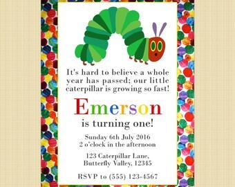 The Very Hungry Caterpillar birthday invitation card, Hungry Caterpillar invite - Digital or printed