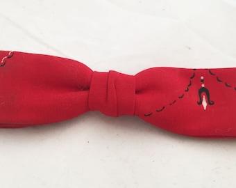 Bowtie - Red Clipon Bandana Western vintage mens bowtie by Beau Clip