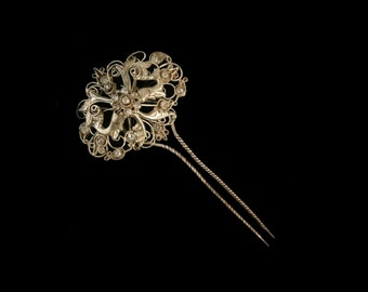 Vintage Indonesian Silver Deer Hair Pin, Art Nouveau Filigree, Clear Glass Stones, Traditional Bridal Hairpin, Love Token, Gift for Her