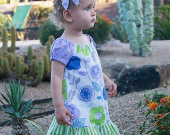 Girl Peasant Dress, Toddler Peasant Dress, Floral Girl Dress, Floral Toddler Dress, Little Girl Dress, Girls Floral Dress, Purple Dress