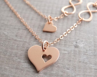 Mother daughter Necklace Set Rose Gold Necklace Infinity heart necklace mother daughter jewelry Mother of the Bride Gift