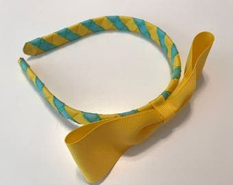 Yellow and Turquoise with Yellow Stitching Woven Headband with Yellow Bow, Girls/Toddlers