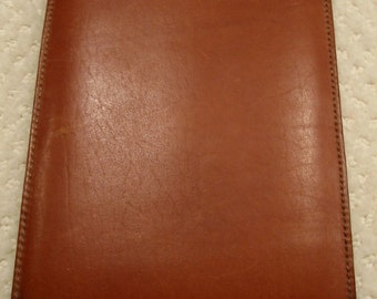 "vintage  cognac leather  'Bosca'  notepad holder/case/cover . . full grain hide . . made in the USA . . gently used condition . .7 1/4"" X 5"""
