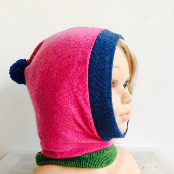 DIZZY 3-6 Months Cashmere Kids Childrens Balaclava Bobble Hat Snood Hoodie Knitted Unisex