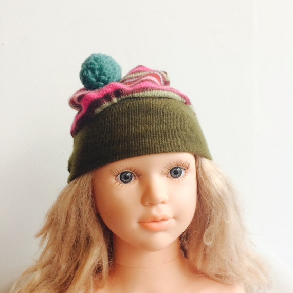 0-3m Wool Toddler Hat Kids Childrens Bobble Hat Snood Hoodie Upcycled Wool Pom Pom Unisex