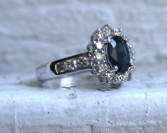 Lovely Vintage 18K White Gold Diamond and Sapphire Halo Ring - 1.90ct.
