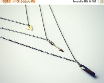 SUMMER SALE triangle arrow and quartz layer necklace, titanium quartz necklace,  geometric necklace, triangle necklace, stone necklace
