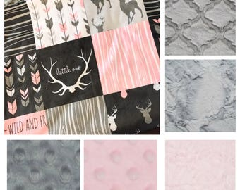 Pink Deer Baby Girl Blanket. Baby MINKY Blanket, Grey Baby Bedding. Woodland Baby Blanket, Personalized Baby Girl Blanket, Baby Shower Gift
