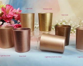 1 per Sampler / Gold Glitter Glass Votive Candle Holders for Weddings and Parties, Glitter , Wedding decor, Neutral Colors,  Mix n match