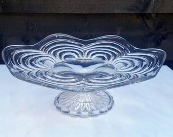 Pressed Glass Cake Stand - pretty petal design