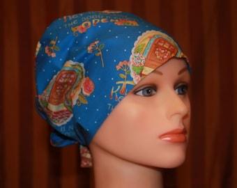 Scrub Hat, Tie Back Scrub Hat/Chemo Hat/Womens scrub hat/Surgical Scrub Hat, Scrub cap-Happiness
